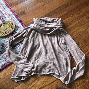 Free people beach pink cowl neck sweatshirt